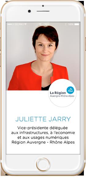 intervenants Juliette Jarry, Vice-Présidente région Auvergne Rhône Alpes, infrastructures, économie, usages numériques